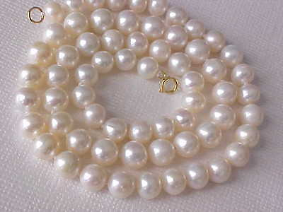 """16"""" 6.5MM ROUND WHITE FRESHWATER PEARL NECKLACE SOLID 14K YELLOW GOLD CLASP #2"""