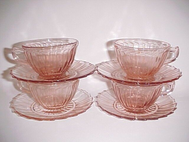 4 Vintage Matching Pink Sierra Cup & Saucer Sets / Jeannette Glass Co