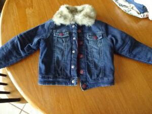 H&M lined  fur jean jacket