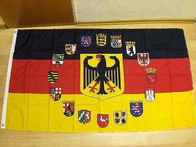 Fahnen Flagge Deutschland Adler Wappen Alle 16 Bundesländer - 90 x 150 cm