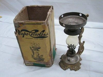 Antique Vapo Cresolene Vaporizer Kerosene Oil Lamp Medical Cure W Box Inhalant