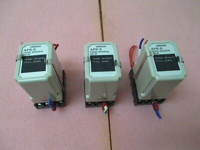 3 Omron APR-S Phase Reversal Relay, 200/220 VAC, 50/60Hz, PFC-A6,