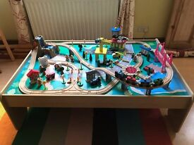 "Pre-owned 120 Piece KidKraft ""Waterfall Mountain"" Wooden Train Set & Table - Good Condition"