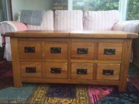 Oak storage coffee table