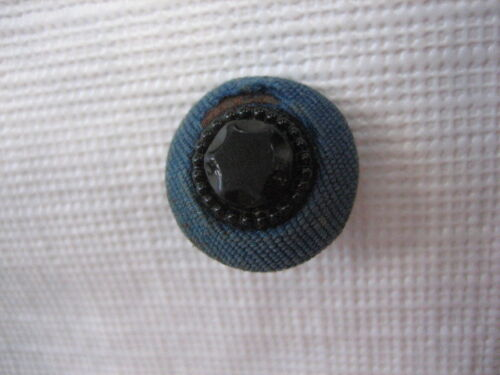 """Vintage Small 5/8"""" Black Glass Set In Blue Fabric Button - O40"""