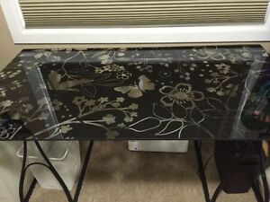 Glass Desk - Butterfly and Flower Design