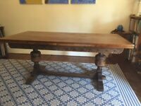 Mellow oak extending refectory style dining table by Jaycee.