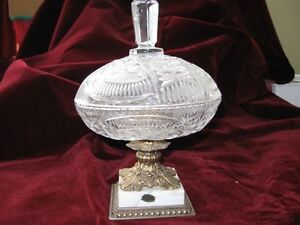 Antique glass dish with lid and Italian Mable base.