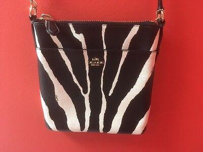 Coach North South Animal Zebra Print Leather Crossbody Swingpack NW/OT