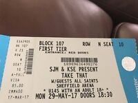 TAKE THAT TICKETS X 2 SHEFFIELD 29 MAY 2017 FIRST TIER SEATING