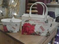 METAL CHRISTMAS SHABBY CHIC DECS Or PLANTERS Or IDEAL Filled With Gifts - £10 for BOTH