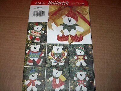Butterick Pattern 4604 Christmas Bear Felt Ornaments ~ Eight Awesome Styles ~ UC Felt Ornaments Patterns
