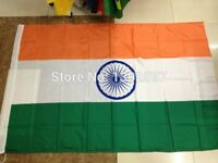 Big india flag 5 by 3 foot new can be put on stick or pole