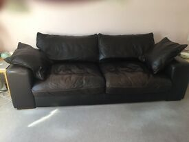 Dark Brown Leather Sofa and Footstool