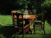 Solid Oak/Black Leather and Tack Antique Dining Set