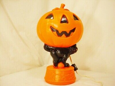 Vtg Plastic Blow Mold Halloween Pumpkin Black Cat Dancing Skeletons Lighted