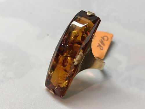 Russian Baltic Amber Ring-New 8.25-14K