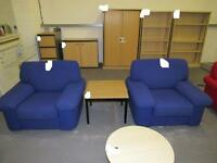 2 upholstered office single Armchairs and light oak effect Coffee Table