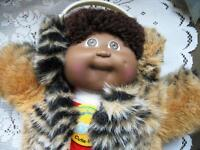 "16"" VINTAGE CABBAGE PATCH BOY, ROMPERS,FUR COAT,EARMUFFS,BOX"