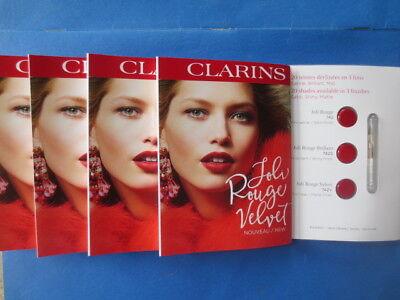 lot CLARINS joli rouge velvet lipstick samples - 4 cards of 3 + lip (Clarins New Lip Brush)