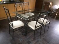 Glass dining /kitchen table 1500 x900 steel antique design