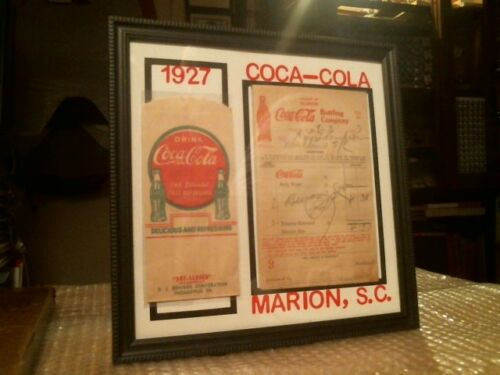 COCA - COLA ORIGINAL VINTAGE EARLY DRY SERVER AND RECEIPT CUSTOM DISPLAY - 1927