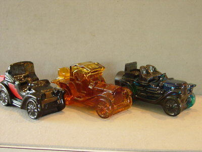 VINTAGE AVON CAR DECANTERS: ELECTRIC CHARGER; PACKARD ROADSTER; STANLEY STEAMER