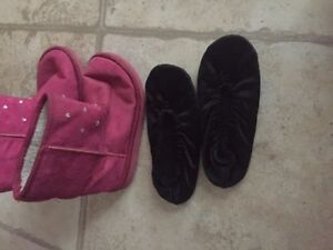slippers size 2 3  and girl dress shoes size 2.5 older child