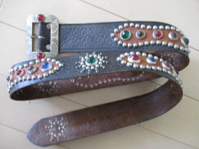 leather studded belt buckle original biker cowboy western  Vintage Rockabilly