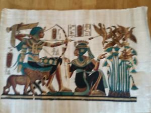 5 Hand painted original  Egyprtian Papyrus paintings from Egypt.