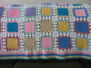 "Hand-Made Multi-Colored Crocheted Afghan 40"" x 64"""