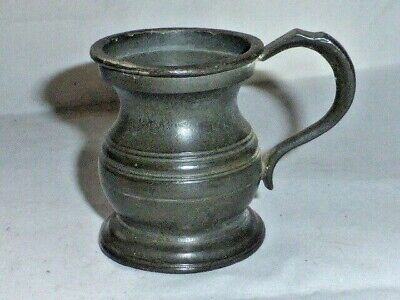 Great Antique Early Victorian Pewter Baluster 1/4 Gill Measuring Jug