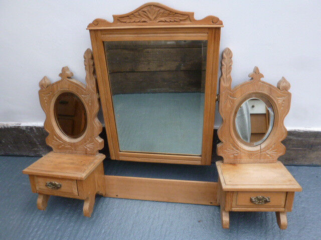 Vintage Antique Old Stripped Pine Triple Mirror Dressing Table Top With Two Drawers Under Mirrors