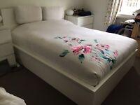 MALM WHITE OTTOMAN BED IKEA - KING