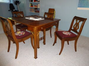Extension Table with Four Harp Back Chairs