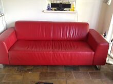 Red Leather Sofa Freedom three seater Subiaco Subiaco Area Preview