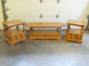 Solid Maple coffee/center table and matching end tables