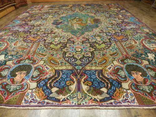 C1950 Super Fine Persian Pictorial(tree Of Life)qom Qum Ghom 10x13 Hunting Rug