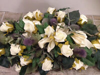 Artificial Wedding Flowers (1 table Display) Thistles & ivory roses (Collection EH11)