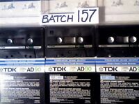 3x VINTAGE TDK AD 90 USED CASSETTE TAPES (1984 JAPAN). ALL TESTED & IN VERY GOOD CONDITION.