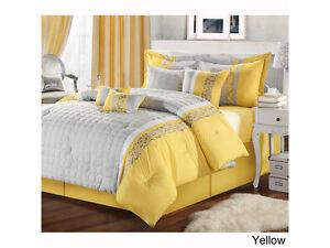 Beautiful Yellow Gray King Size 8 PC Comforter Bedding Set ...