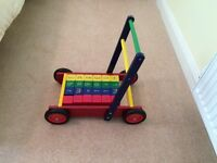 Pintoy wooden baby walker with bricks