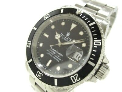 Auth ROLEX Submariner Date 16610 Black S279610 SS Men