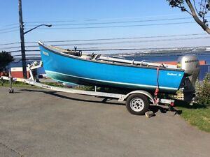 16 foot fiberglass boat with motor and trailer