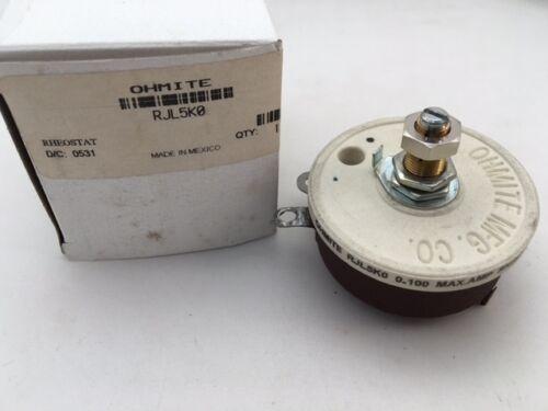 RJL5K0 Ohmite, 50 Watt 5K Ohm 750V, Locking Shaft, Linear Rheostat