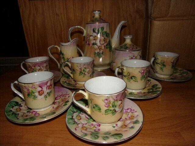Vintage Limoges China Demitasse Tea Set Floral Gold Accent 17pc No Damage