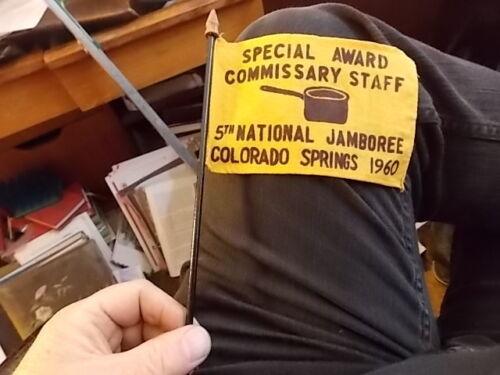 1960 COMMISSARY STAFF NAT BOY SCOUTS JAMBOREE SPECIAL AWARD DESK FLAG COLORADO