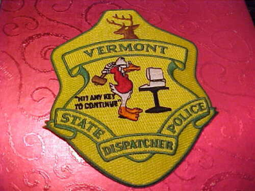 VERMONT STATE POLICE DISPATCHER POLICE PATCH SHOULDER SIZE UNUSED BIG 5 X 4 IN