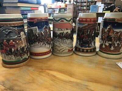Anheuser Busch  AB  Budweiser  Christmas Beer Steins (5) Clydesdales