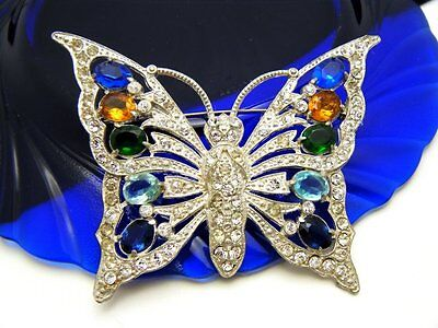 Vintage Rhinestone Butterfly Huge 1942 Book Piece Schrager  on Lookza